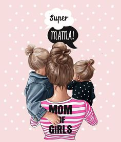 "Baby Ilustration Super mama From a series of illustrations ""mom's"" created by … Mother Daughter Art, Mother Art, Mother And Child, Mama Baby, Mom And Baby, Disney Collection, Tattoo Mutter, Girly M, Super Mom"