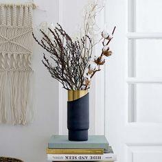 Metal Vase, Gold & Blue by Bloomingville at Dotmaison