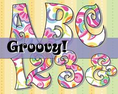 FREE Groovy! 70's-Inspired Alphabet - 150 DPI, 66 page PDF