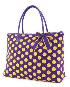 Purple with Gold Polka Dots Purse or Overnight Bag