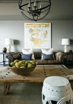 LIKE THE COLOR PALETTE…GREY,NAVY, LINEN, SAGE, BRWN…….Great Decorating Idea Website