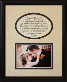 8x10 DADDY'S LITTLE GIRL Picture & Poetry Photo Gift Frame ~ Cream/Navy Blue Mat in BLACK Frame ~ Heartfelt Keepsake Picture Frame for Dad from his Little Girl on Father's Day, Christmas, Birthday or Valentines Day! PoetrybyJoyceBoyce.com http://smile.amazon.com/dp/B0074L22NG/ref=cm_sw_r_pi_dp_rmjJtb1V3W5YNYZV