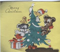 Vintage Christmas Card - Die -Cut Animals Decorating Tree with Donald Duck