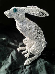 Stargazey Hare wire sculpture