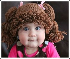 """Have you ever dreamed of having a life sized Cabbage Patch Kid? Now you can with this Cabbage Patch Kids Hat that will turn your child into the big cheeked, adorable Cabbage Patch Kid we all remember!"" Cutest Halloween idea ever! Crochet For Kids, Knit Crochet, Crochet Hats, Free Crochet, Crochet Pony, Crochet Crown, Crochet Costumes, Cabbage Patch Hat, Cabbage Patch Kids Costume"