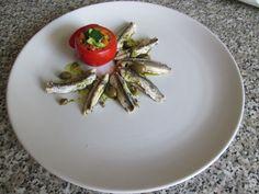 Anchois  rotì   sauce  de   pesto  de  basilique  ,caprer   et tomato  farci  avec  petit legumes   Gino D'Aquino.