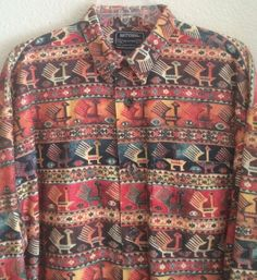 National Outfitters Men's Shirt Size XL - Corduroy Southwest Design Long Sleeves #NationalOutfitters #ButtonFront