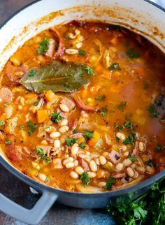 How do you use that leftover ham from your holiday feast? Make thisHam and Bean Soup Recipe to use your ham leftovers in an entirely new dinner. This easy healthy meal is perfect for a cold Winter day. Best Ham And Bean Soup Recipe, Bean Soup Recipes, Bean And Ham Soup, Casserole Recipes, Pot Recipe, Chicken Casserole, Chili Recipes, Leftover Ham Recipes, Leftovers Recipes