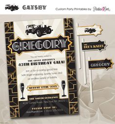 Great Gatsby Roaring 20s / 1920s Flapper Party Printables / Customize on Etsy, $33.00