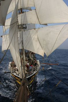 This is from the bowsprits of the clipper 'Stad Amsterdam', crossing the Atlantic a few years ago.