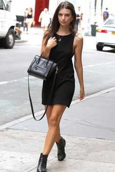 Emily Ratajkowski wearing Celine Nano Bag, Reformation Arly Dress and Saint Laurent Leather Babies Studded Boots