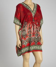 Take a look at this Red Paisley Dolman Tunic - Plus by Life and Style Fashions on #zulily today!