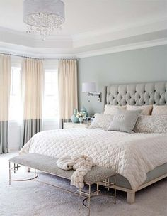Master Bedroom With Pastel Color Grey Color Plus Bedroom Bench And Pendant Ligh Popular Bedroom Decorating With Pastel Color Ideas And Lighting Bedroom design Small Master Bedroom, Master Bedroom Design, Dream Bedroom, Home Decor Bedroom, Modern Bedroom, Pretty Bedroom, Master Bedrooms, Minimalist Bedroom, Summer Bedroom