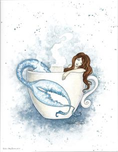 Amy Brown Print Relax Tea Coffee Cup Mermaid Blue White Bathroom Wall Art New