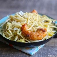 Spaghettis aux gambas et aux poireaux #papilles&pupilles