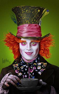 <b>Mad</b> <b>Hatter</b> (<b>Johnny</b> <b>Depp</b>) in '<b>Alice in Wonderland</b>' Tim Burton, Mad Hatter Drawing, Sketches, Illustration, Wonderland Tattoo, Drawings, Trendy Tattoos, Artist, Pictures