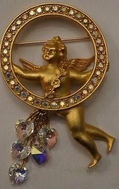 """EXTRA RARE VTG Kirks Folly Angel Cupid AB Crystal Heart Charm Brooch Pin 3""""L!"""