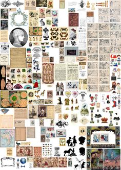 A poster of miniature printables - Print off at size for Victorian/early dolls house designs at scale . a mix of postcards, book pages, pictures, toys and boxes.