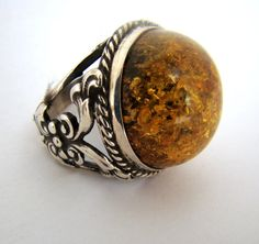 925 Sterling Silver Amber Ring Size T 1/2 for UK by RumiJewellery, £100.00