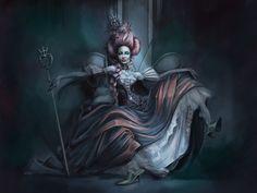Caroline Vos - Dark Fantasy - Fashion - Gothic - Couture - Regal - Queen - Dress - Alice In Wonderland - Queen Of Hearts concept ideas Fantasy Girl, Fantasy Queen, Chica Fantasy, Dark Fantasy, Female Vampire, Gothic Vampire, Adventures In Wonderland, Alice In Wonderland, Wonderland Party