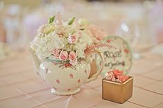 tea-party themed wedding center piece