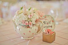 tea-party themed wedding center piece