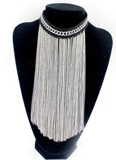 Silver Chain Tassel Necklace EUR€7.63