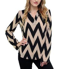 Look at this #zulilyfind! Black & Taupe Chevron Top by Flawless #zulilyfinds