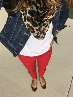 Fall style- jean jacket with a white boyfriend tee and red pants, leopard flats and leopard scarf. #whiteboyfriendtee #NoFilter #redpants #leopardscarf #jeanjacket