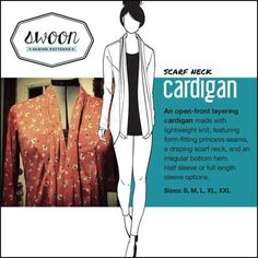This cardigan is easy to sew and is designed to made using lightweight knit fabric. The cardigan features a form-fitting style with princess seams, a drape