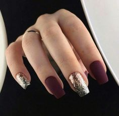 Trendy Manicure Ideas In Fall Nail Colors;Purple Nails; Fall Nai… Trendy Manicure Ideas In Fall Nail Colors;Purple Nails; Trendy Nails, Cute Nails, Cute Fall Nails, Cute Short Nails, Red Nail Designs, Burgundy Nail Designs, New Years Nail Designs, Burgundy Nails, Matte Maroon Nails