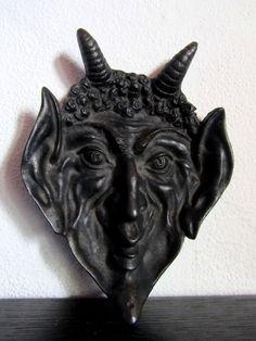Teufels Wandmaske, Eisen, um 1900