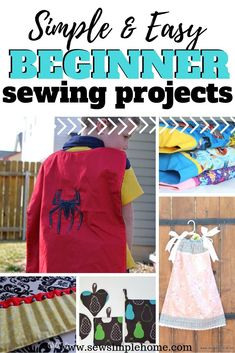 Great list of simple, free and easy beginner sewing projects for adults and kids.  Including DIY patterns, tutorials and projects