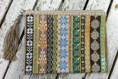 Olive, brown, blue embroidery purse with tassle