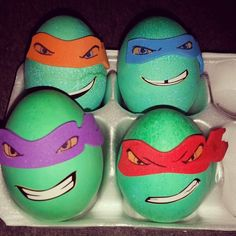 Ninja turtle easter eggs made these hollow with invitation rolled up inside for atticus