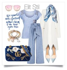 """""""Blue"""" by elitstil on Polyvore featuring Thierry Mugler, Asprey, Quay, Gianvito Rossi, MSGM and Gucci"""