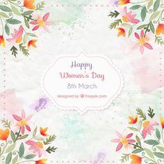 Aquarell Blumenschmuck Frauentags Kostenlose Vektoren