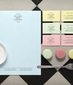 HFC's stationery and business cards, with a color palette inspired by pastel hued macarons.