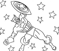 Captain America Was Dodge Enemy Attacks Coloring For Kids - Captain America Coloring Pages : KidsDrawing – Free Coloring Pages Online Cat Coloring Page, Online Coloring Pages, Coloring For Kids, Coloring Pages For Kids, Coloring Books, Coloring Sheets, Captain America Mask, Captin America, Captain America Birthday