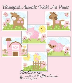 PINK BARNYARD FARM Animals Wall Art Prints Baby Girl Nursery Childrens Bedroom Kids Room Brown Cow Horse Pony Pig Sheep Decor