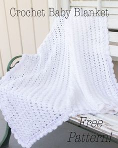 crochet baby blanket tutorial, free crochet pattern baby blanket, crochet scallop edge baby blanket, white crochet baby blanket