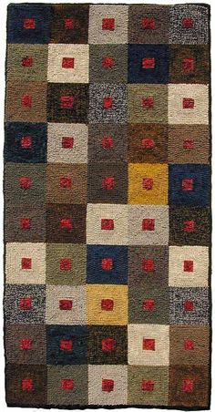 Great use for all that recycled wool I've been storing!  Love how the red squares in the center of each block unify the whole thing.