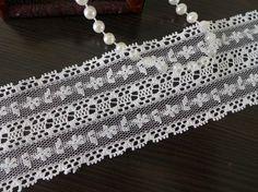 White Vintage Lace Ribbon Wedding Ribbon Lace Trim by lacelindsay