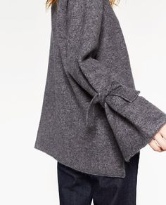 Image 6 of SWEATER WITH TIE DETAIL ON SLEEVE from Zara