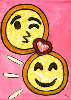 OOAK Mixed Media Collage-EmojiLove by TearAndPaste on Etsy