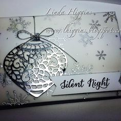 Thursday, 3 September 2015 Linda Higgins: Stampin' Up! Delicate Ornaments in Silver with Embossed Vellum. so elegant! Chrismas Cards, Stamped Christmas Cards, Homemade Christmas Cards, Christmas Cards To Make, Christmas Paper, Xmas Cards, Handmade Christmas, Homemade Cards, Holiday Cards