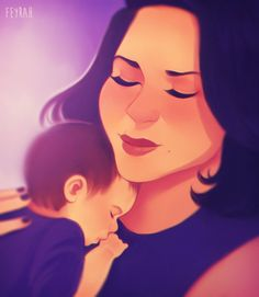 Lovely #RegalBeliever fanart of Regina and baby Henry. Credit to Feyrah.
