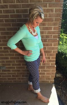 Polka Dots and Pearls outfit. Such a cute outfit!