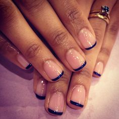 I did this with black tips, kinda like the navy blue...