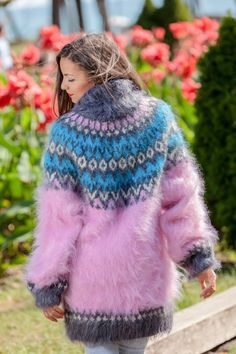 ____________ COLOUR : Multicolour ( There may be a slight difference because of the different monitors' representation) ____________ ♥ In the picture the model is wearing a garment with these Fluffy Sweater, Mohair Sweater, Pink Sweater, Sweater Outfits, Turtleneck, Hand Knitted Sweaters, Women's Sweaters, Nordic Sweater, Thing 1